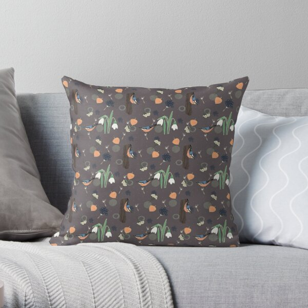 The little nuthatch, a layered pattern featuring birds, snowdrops, physalis and textures, grey background Throw Pillow