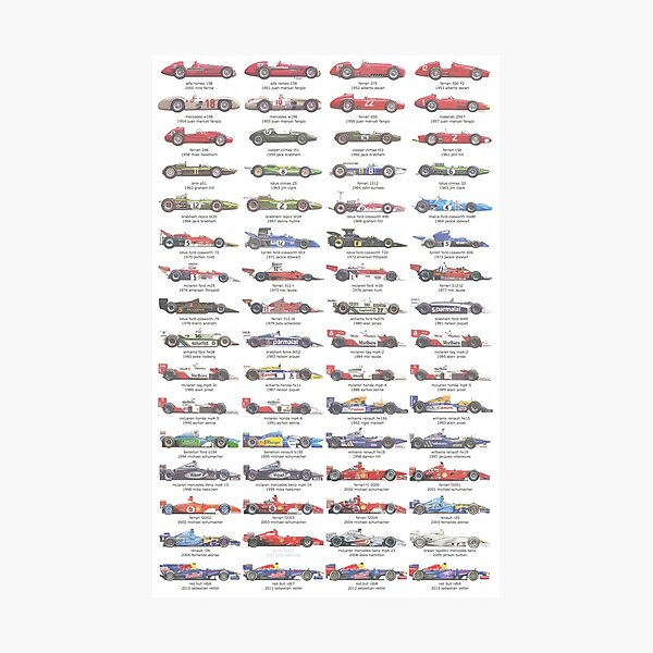 F1 Car Evolution 1950-2013 Photographic Print