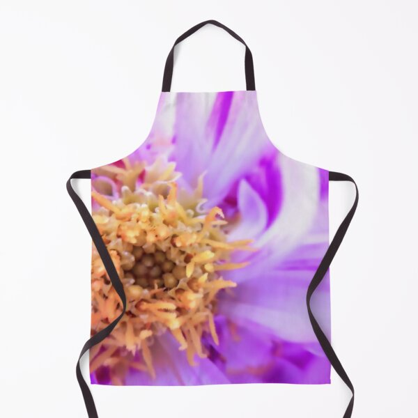 Inside a pink white flower Macro photography Apron