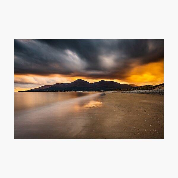 Murlough Beach Sunset Mourne Mountains Northern Ireland Photographic Print