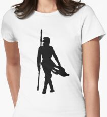 Rey Silhoutte (Black) Womens Fitted T-Shirt