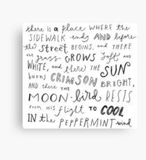 Where the Sidewalk Ends quote Shel Silverstein Canvas Print