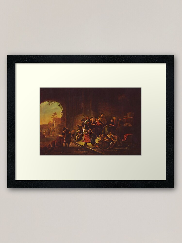 Alternate view of Painting of the parable, by Patrick Paearz de Wet, mid-17th century Framed Art Print