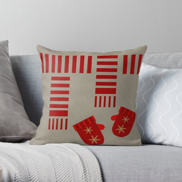 Christmas Scarf and Mittens Throw Pillow