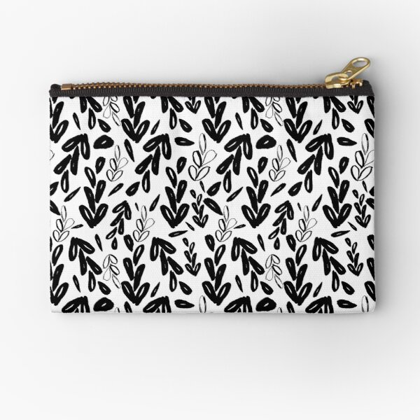 Loose Leaves Black and White Zipper Pouch