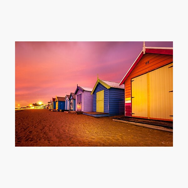 Brighton Beach Bathing Boxes Sunset  Photographic Print
