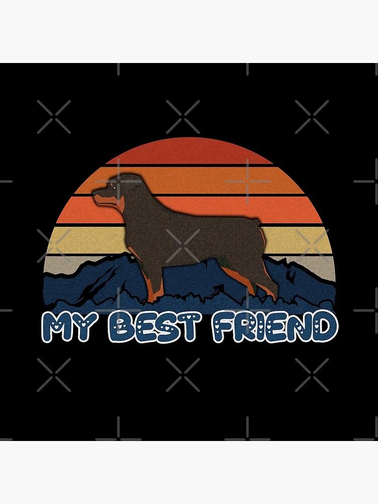 My Best Friend Rottweiler - Rottweiler Dog Sunset Mountain Grainy Artsy Design by dog-gifts
