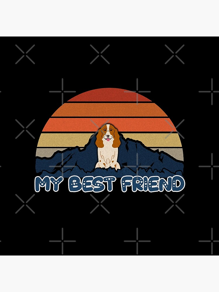 My Best Friend Russian Spaniel - Russian Spaniel Dog Sunset Mountain Grainy Artsy Design by dog-gifts