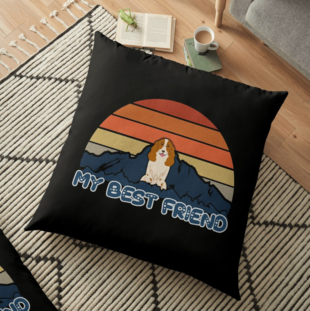 My Best Friend Russian Spaniel - Russian Spaniel Dog Sunset Mountain Grainy Artsy Design Floor Pillow