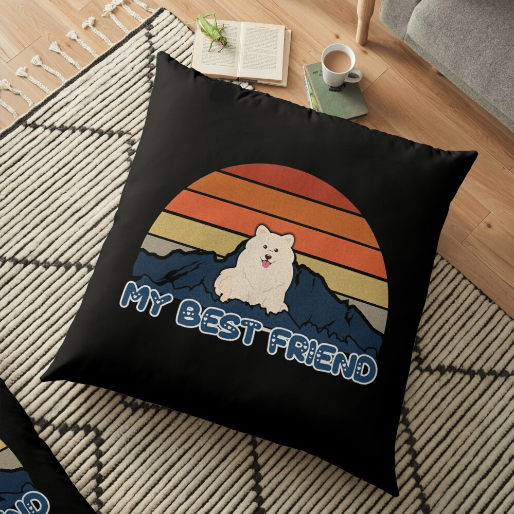 My Best Friend Samoyed - Samoyed Dog Sunset Mountain Grainy Artsy Design Floor Pillow
