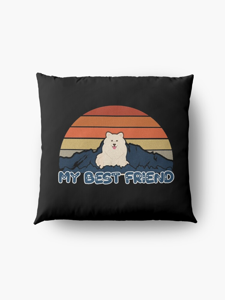 Alternate view of My Best Friend Samoyed - Samoyed Dog Sunset Mountain Grainy Artsy Design Floor Pillow