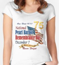 Pearl Harbor Day 75th Anniversary Logo Women's Fitted Scoop T-Shirt
