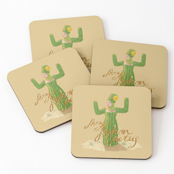 Sexy Fashion Cactus Lettering Coasters (Set of 4)