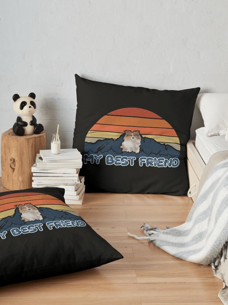 Alternate view of My Best Friend Shetland Sheepdog - Shetland Sheepdog Dog Sunset Mountain Grainy Artsy Design Floor Pillow