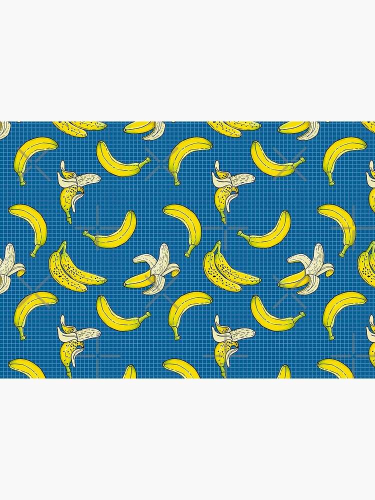 Bananas Fruits Pattern on Blue Checkered by PrintablesP