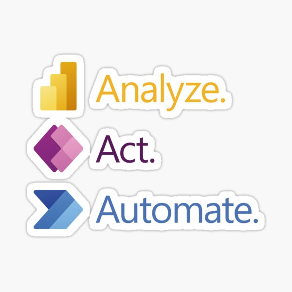 Analyze. Act. Automate. Pegatina