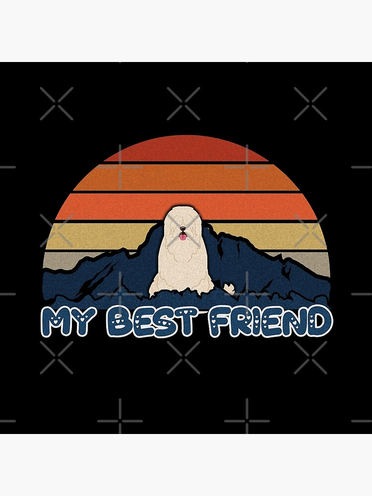 My Best Friend South Russian Ovcharka - South Russian Sheepdog Dog Sunset Mountain Grainy Artsy Design by dog-gifts