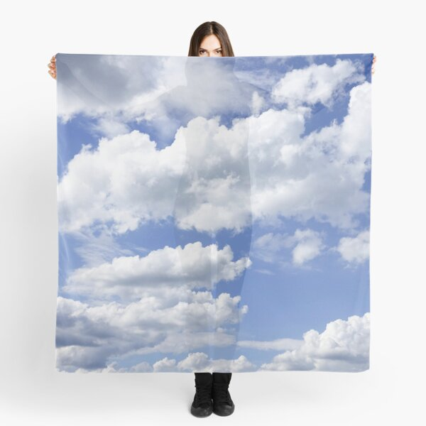 Fluffy Clouds Blue Sky Pattern Scarf
