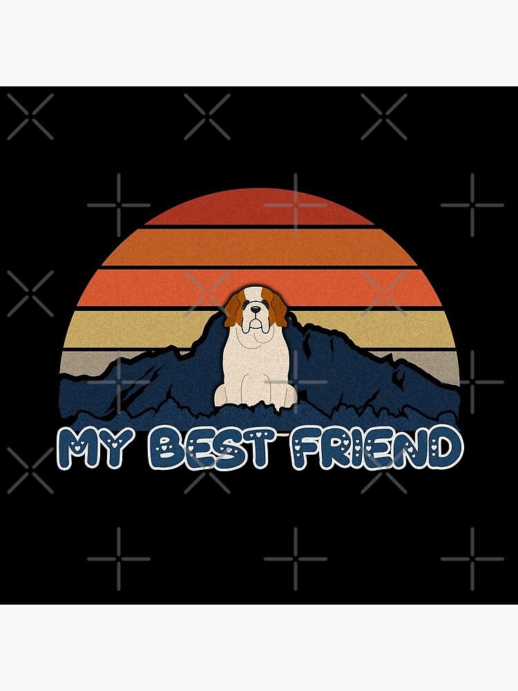 My Best Friend St Bernard Dog - St Bernard Dog Sunset Mountain Grainy Artsy Design by dog-gifts