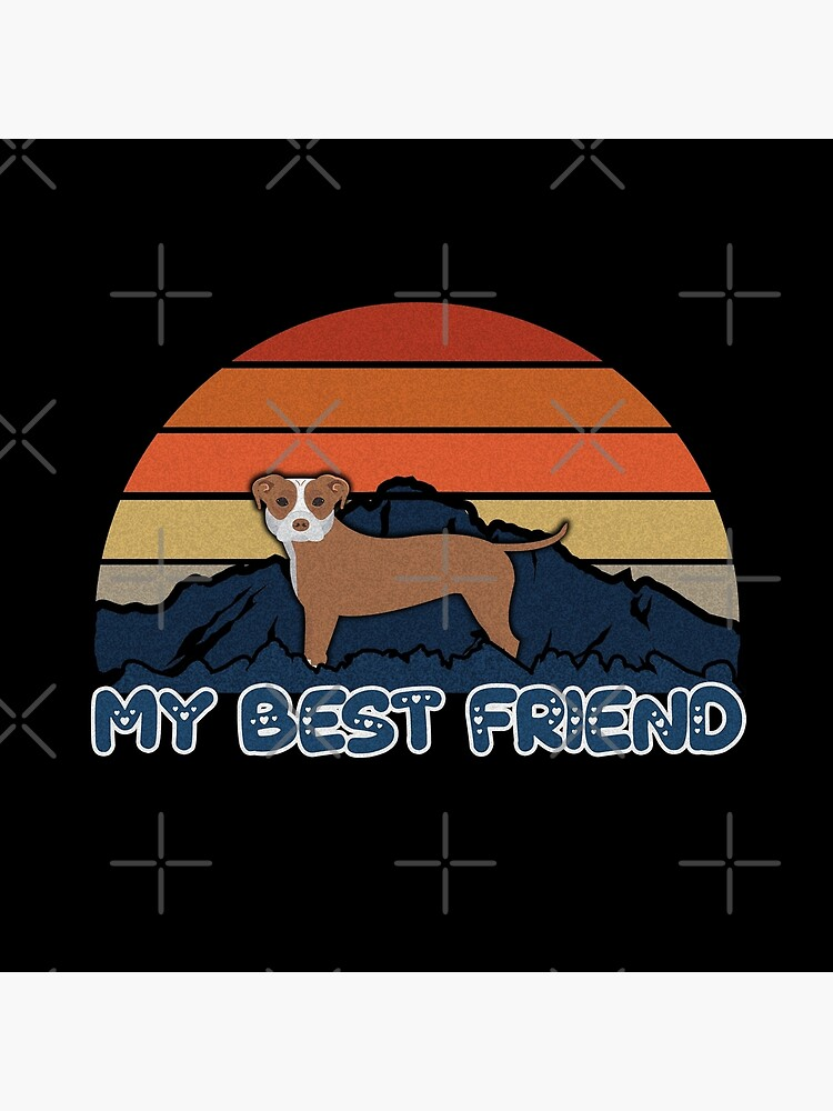 My Best Friend Staffordshire Bull Terrier - Staffordshire Bull Terrier Dog Sunset Mountain Grainy Artsy Design by dog-gifts