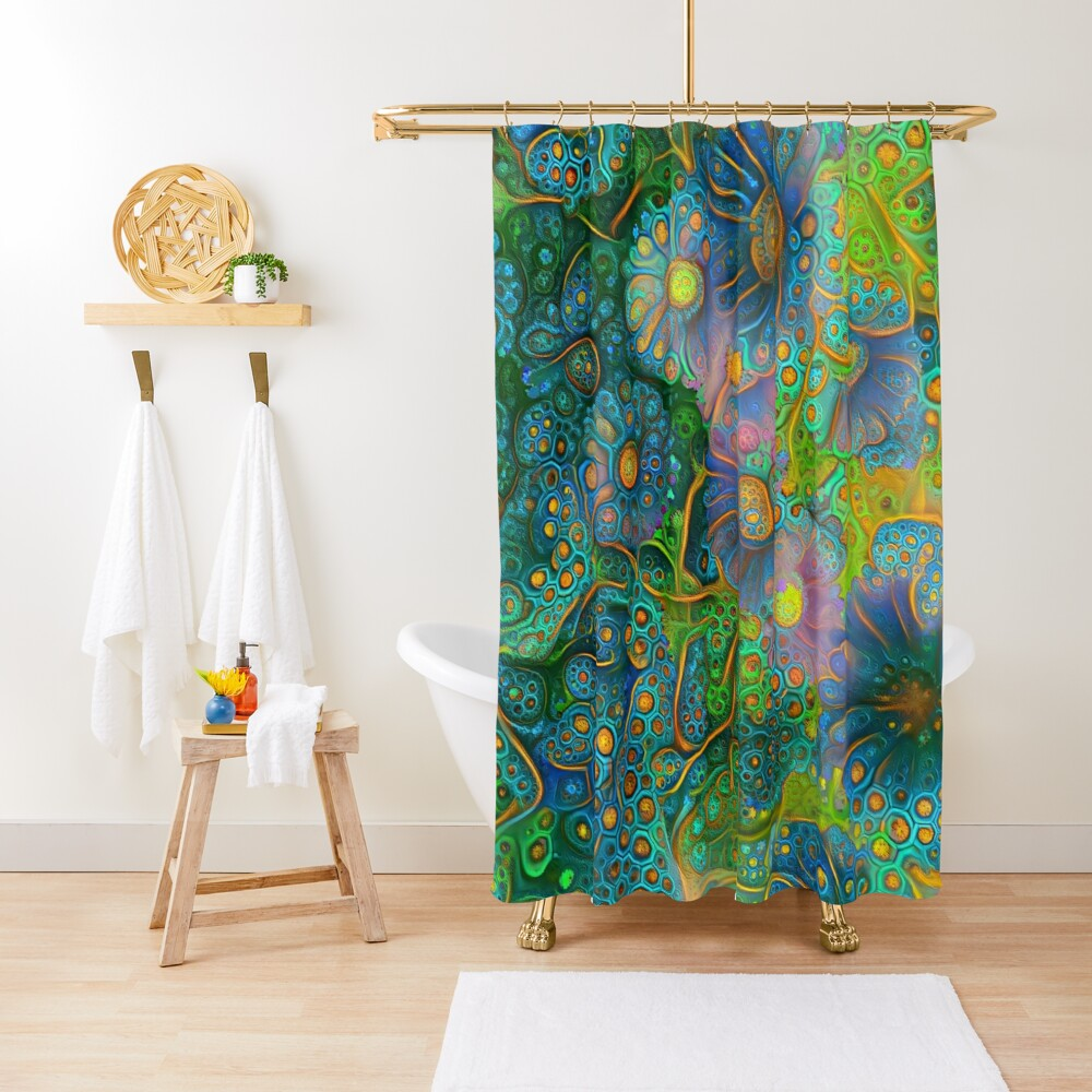 Flower abstract digital painting Shower Curtain
