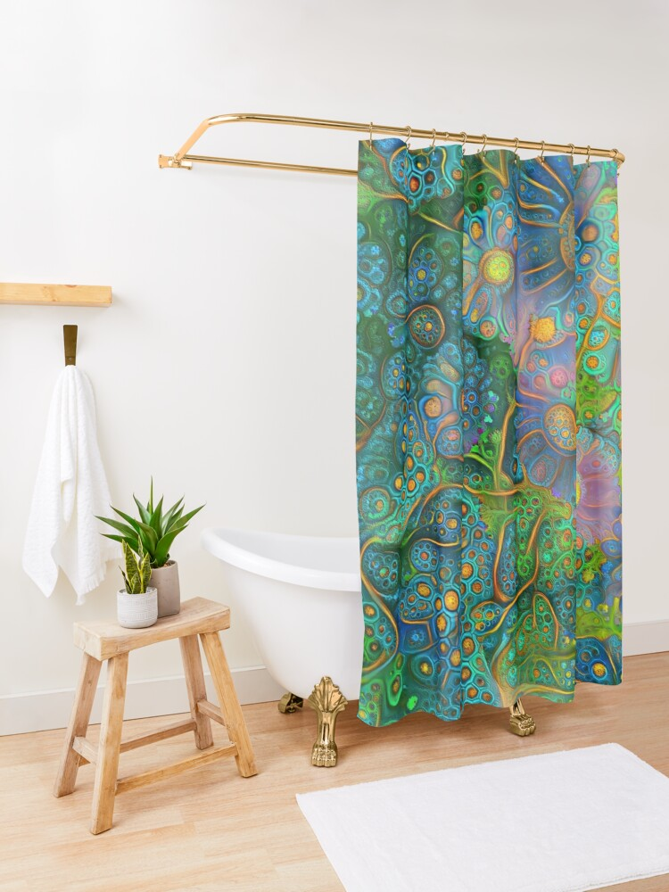 Alternate view of Flower abstract digital painting Shower Curtain