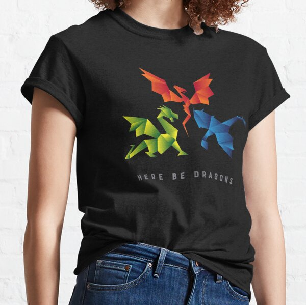 SCP-1762 Where The Dragons Went Origami Style Dragons Classic T-Shirt
