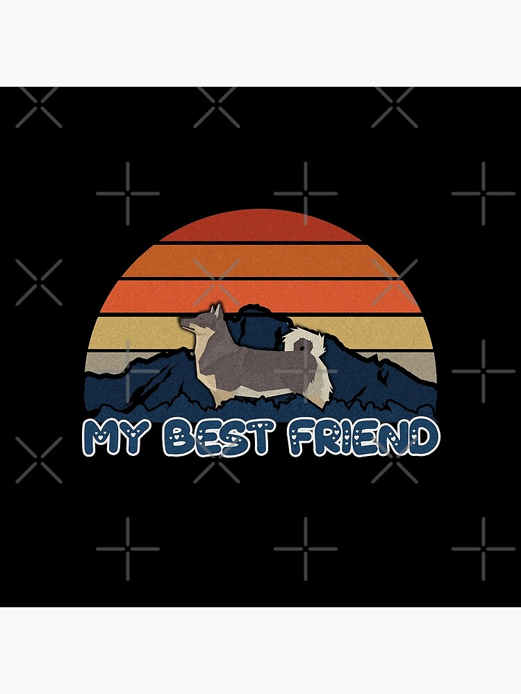 My Best Friend Swedish Vallhund - Swedish Vallhund Dog Sunset Mountain Grainy Artsy Design by dog-gifts