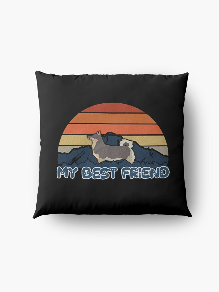 Alternate view of My Best Friend Swedish Vallhund - Swedish Vallhund Dog Sunset Mountain Grainy Artsy Design Floor Pillow