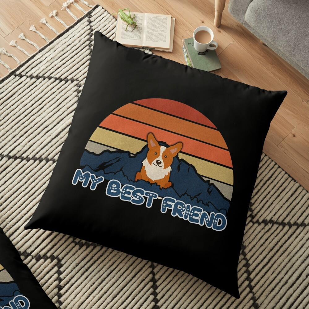 My Best Friend Welsh Corgi Cardigan - Welsh Corgi Cardigan Dog Sunset Mountain Grainy Artsy Design Floor Pillow