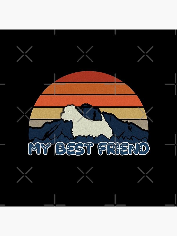 My Best Friend West Highland White Terrier - Westie Dog Sunset Mountain Grainy Artsy Design by dog-gifts