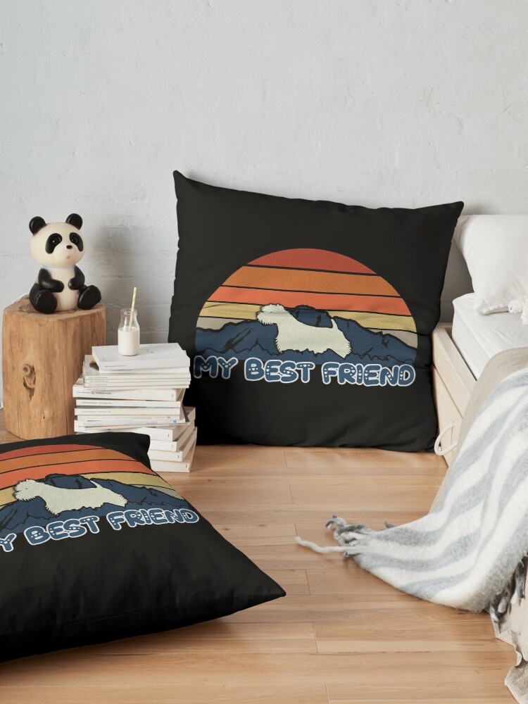 Alternate view of My Best Friend West Highland White Terrier - Westie Dog Sunset Mountain Grainy Artsy Design Floor Pillow