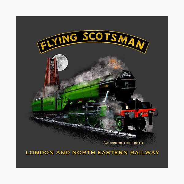 The Legendary flying Scotsman over the Forth Steam Train by Motormaniac Photographic Print