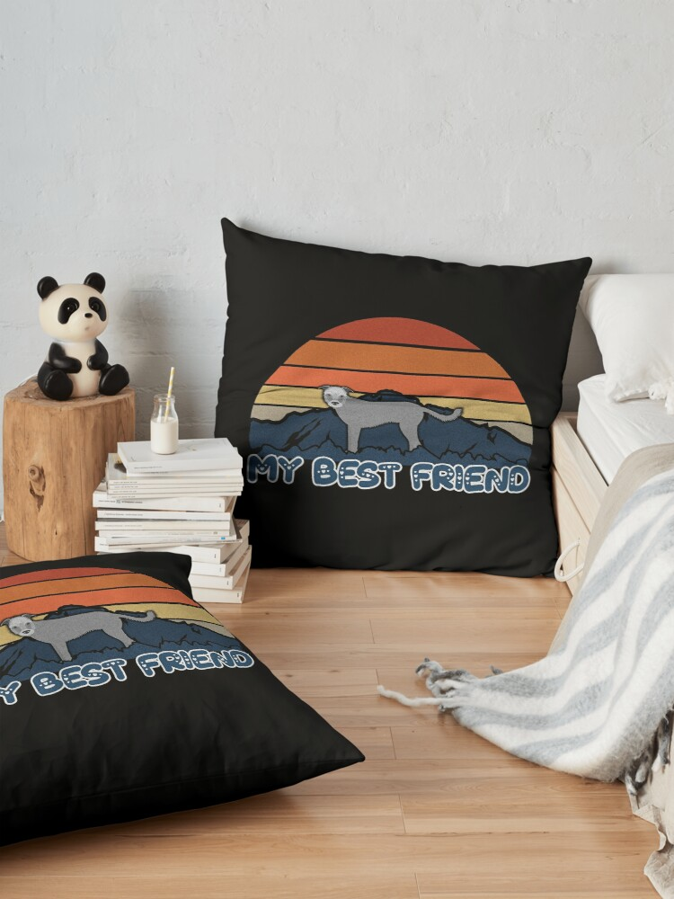 Alternate view of My Best Friend Wolfhound - Wolfhound Dog Sunset Mountain Grainy Artsy Design Floor Pillow