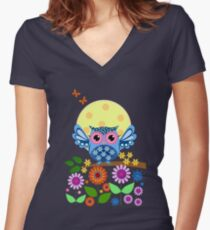 Decorative spring owl and flowers Women's Fitted V-Neck T-Shirt