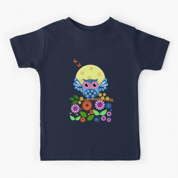 Decorative spring owl and flowers Kids T-Shirt