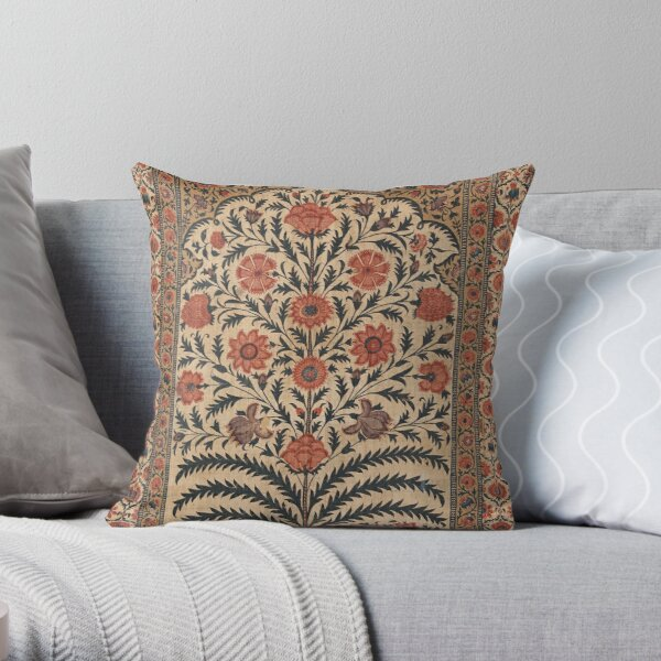 Vintage Panel from a Tent Lining, India 1725–50 Throw Pillow