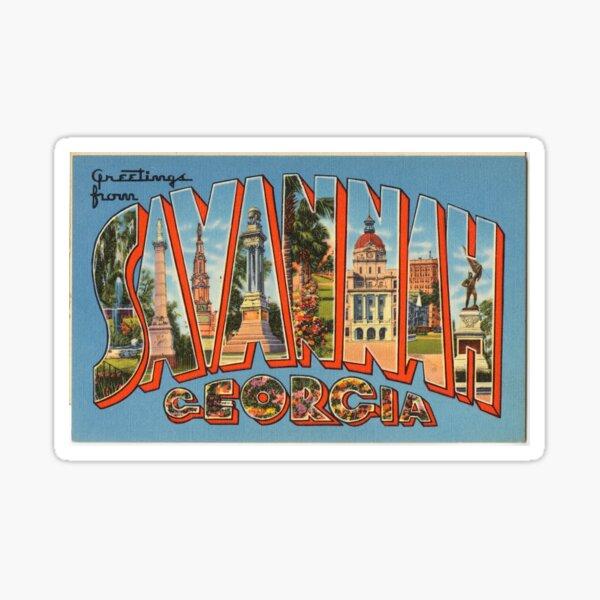 Vintage Colorful Greetings From Savannah Georgia Sticker