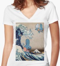 Mudkip Wave Women's Fitted V-Neck T-Shirt