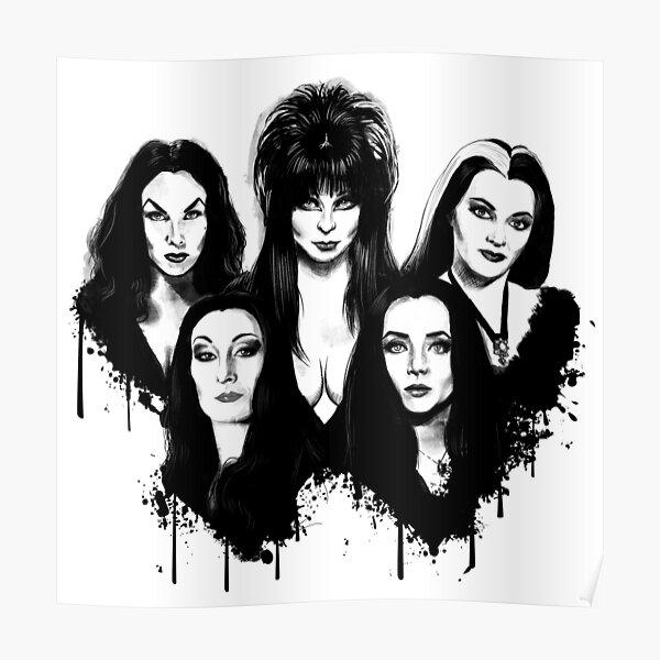 Goth Queens - Elvira, Vampira, Lily, Morticia Poster