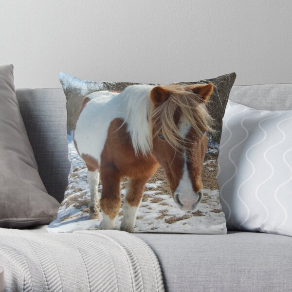 Wild horses, wildlife, Assateague Island, Wild Beauty Throw Pillow