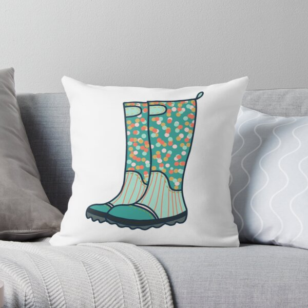 Rubber boots Wellies  Throw Pillow