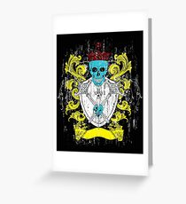 Blue Skull Coat of Arms Greeting Card