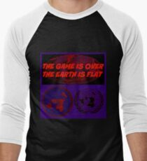 GAME OVER THE EARTH IS FLAT Men's Baseball ¾ T-Shirt