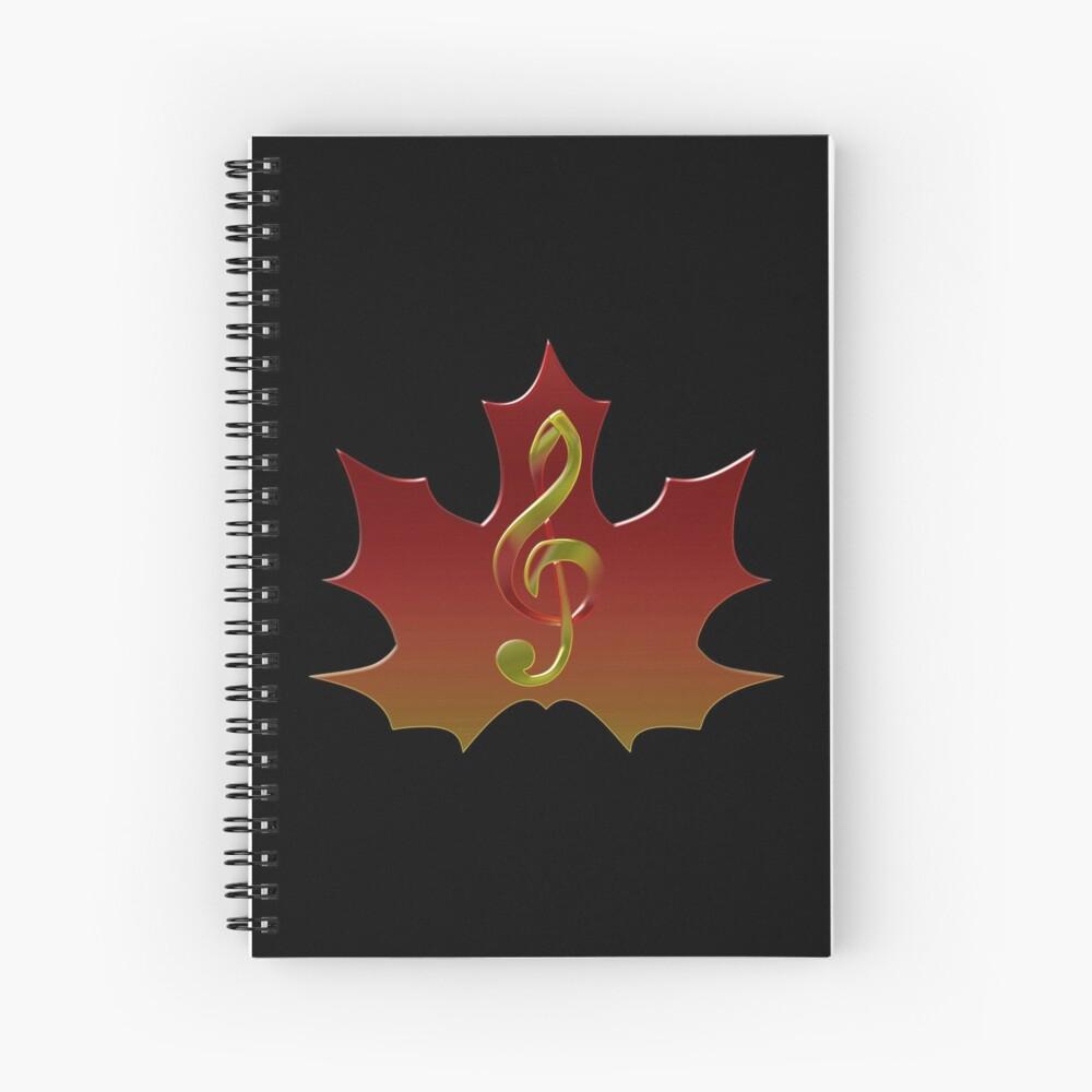 Treble Clef Overlaying Red Maple Leaf Cuaderno de espiral