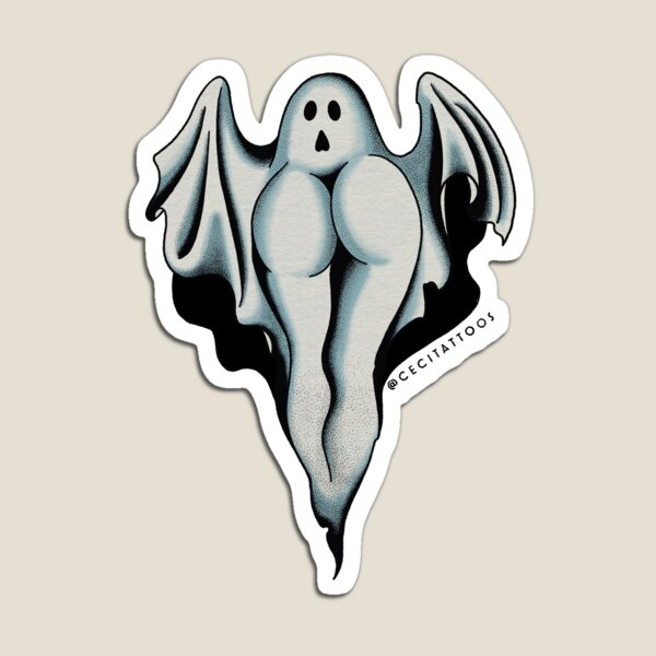 Ghost BOOty tattoo flash, single ghost Magnet