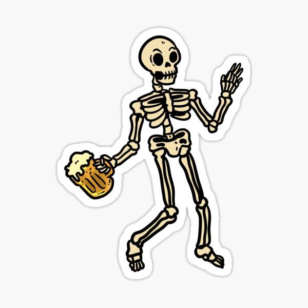 Drunk Skeleton With BeerHalloween Sticker