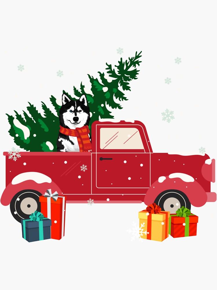 Merry Christmas Red Pickup Truck Alaska Malamute Xmas by Rita-Wang-9327