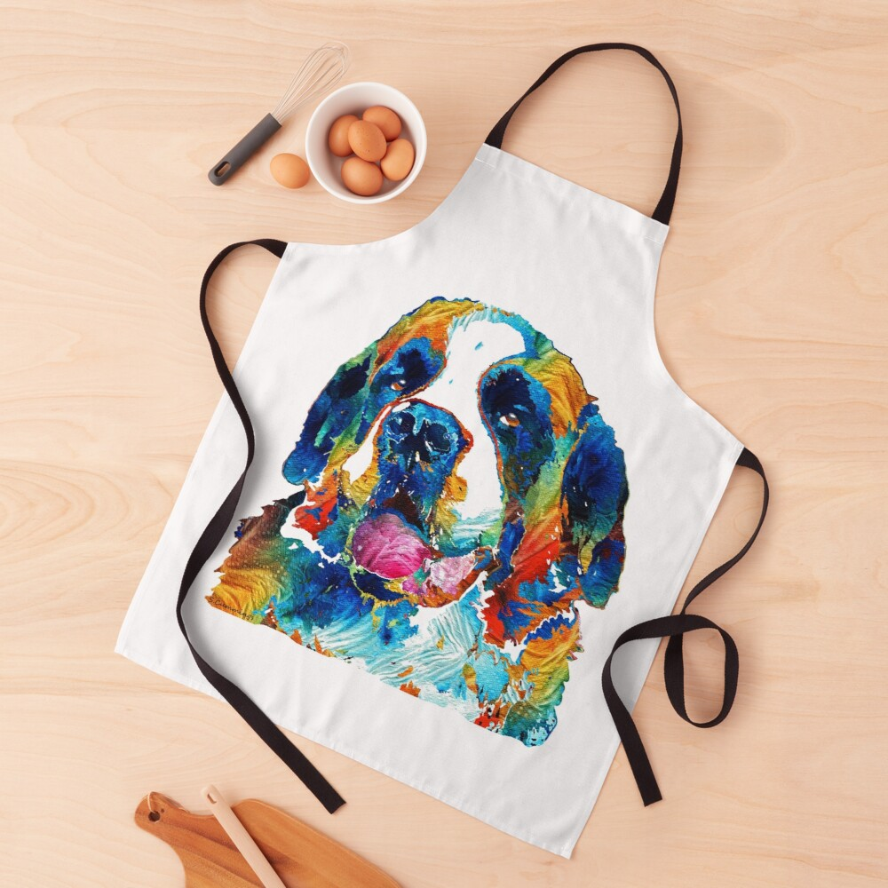 Colorful Saint Bernard Dog by Sharon Cummings Apron