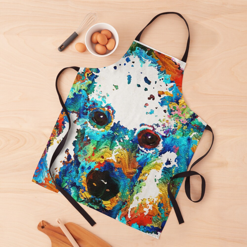 Colorful Poodle Dog Art by Sharon Cummings Apron